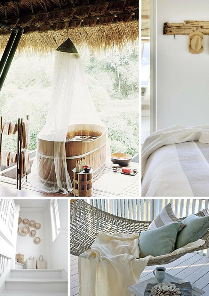cottage al mare con arredo in stile naturale, vasca da bagno in legno, amaca in corda