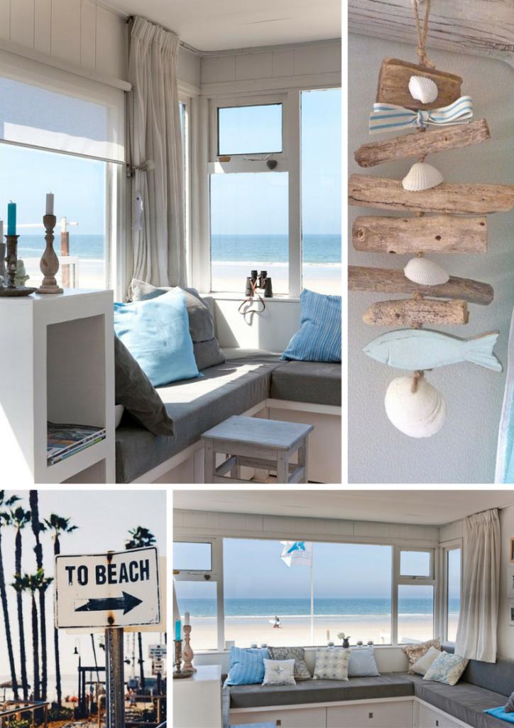 cottage fronte mare con arredi colore corda e turchese