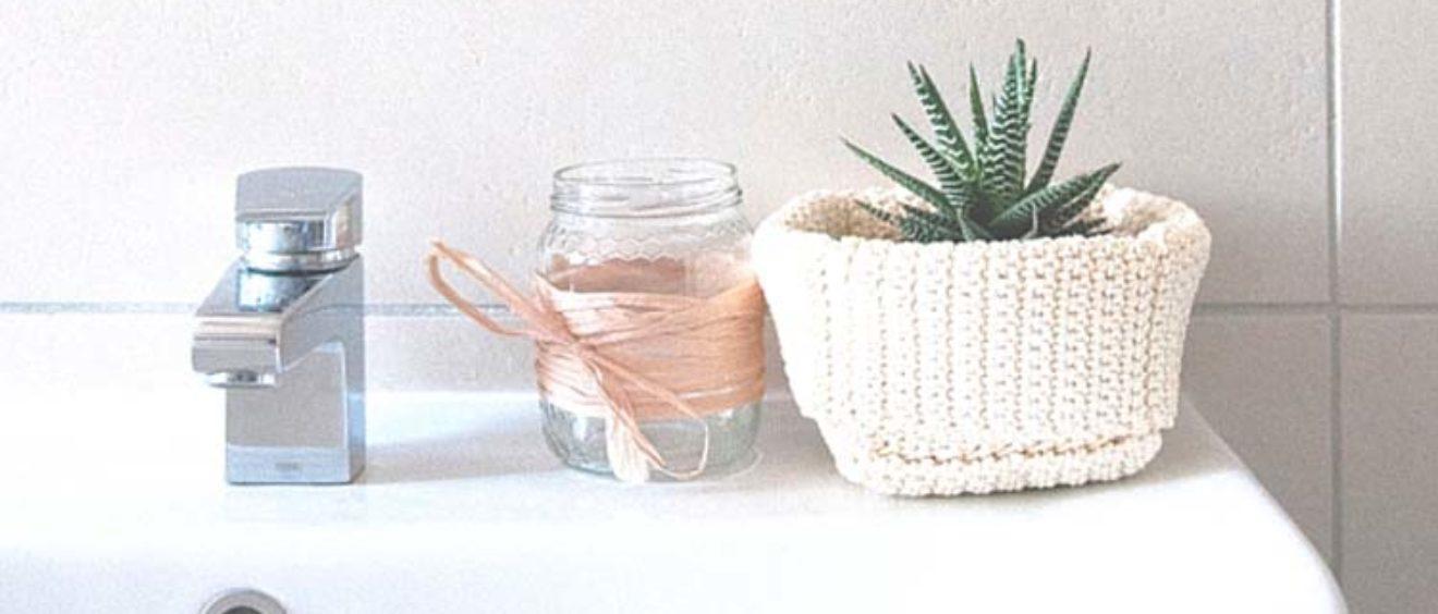 Accessori bagno fatti con riuso creativo e piante grasse