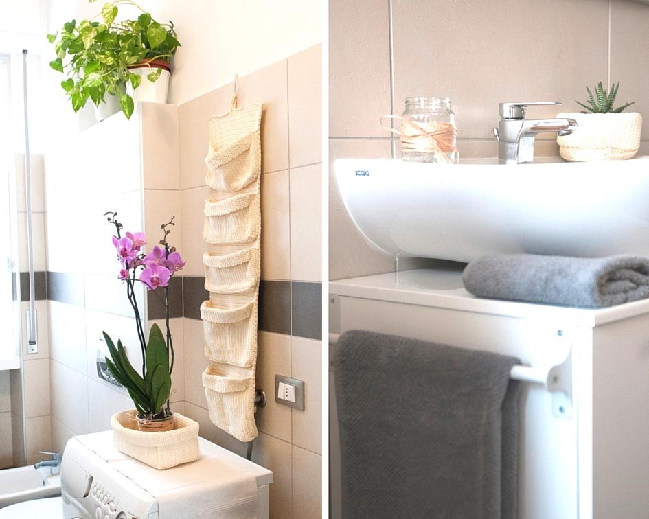 Lavabo soprapiano con mobile bianco e accessori bagno colore corda