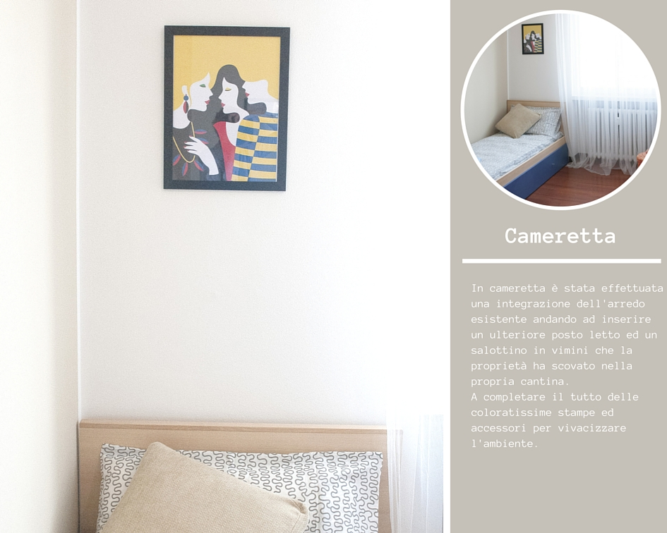 Dettaglio della testata di un letto singolo con sopra una stampa grafica multicolore