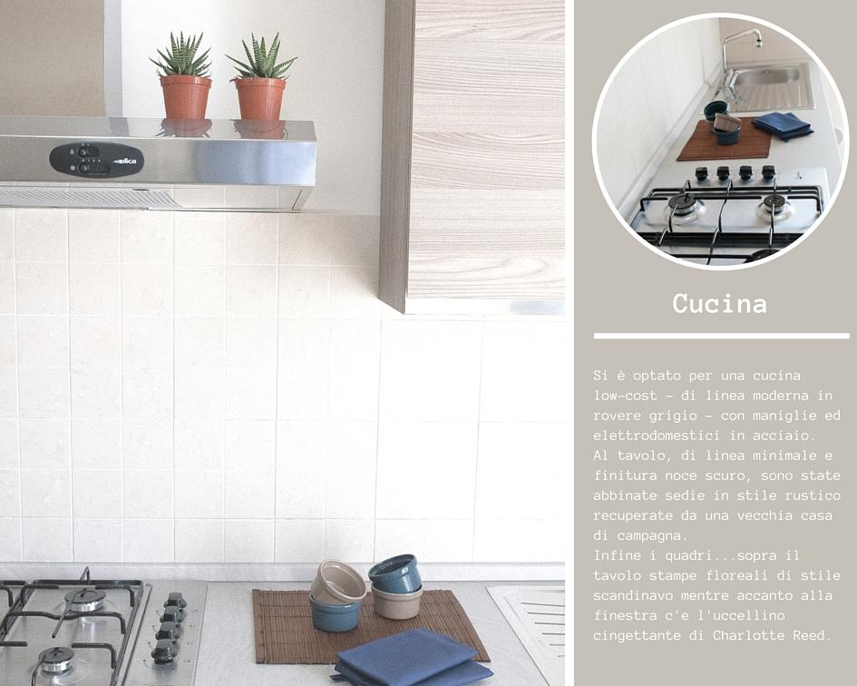 Top cucina in laminato colore sabbia cappa e piano cottura in acciaio