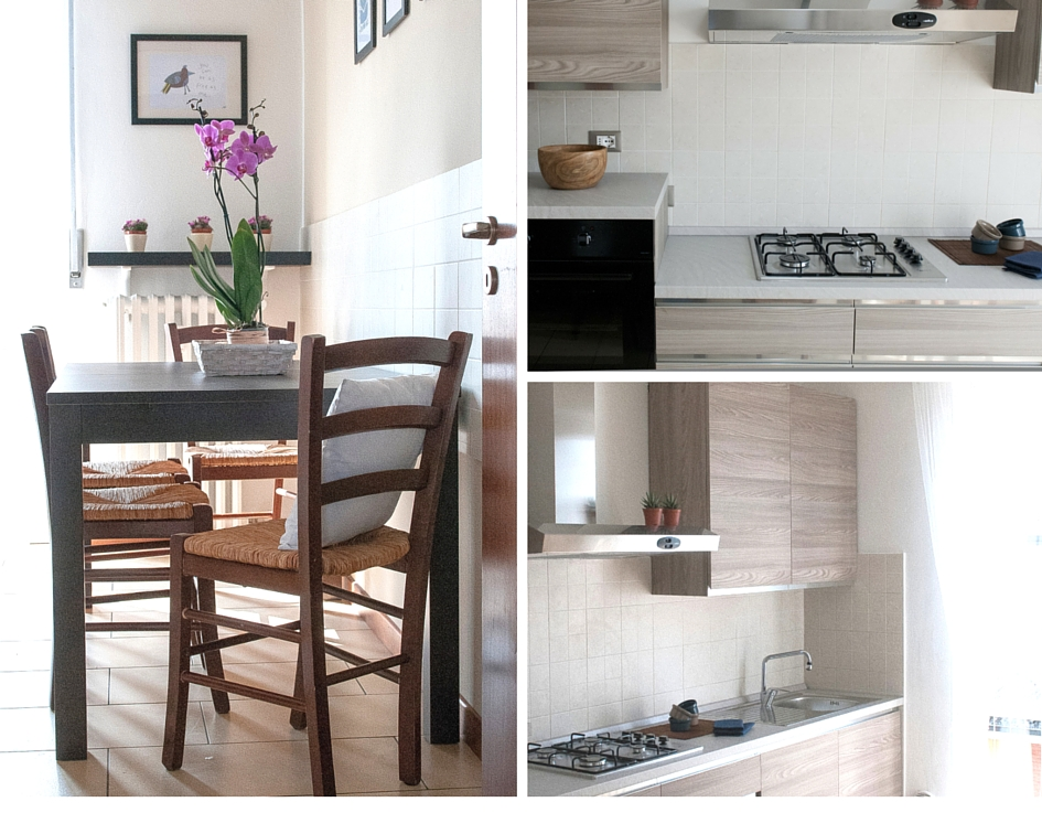 Cucina in rovere grigio con sedie in stile rustico