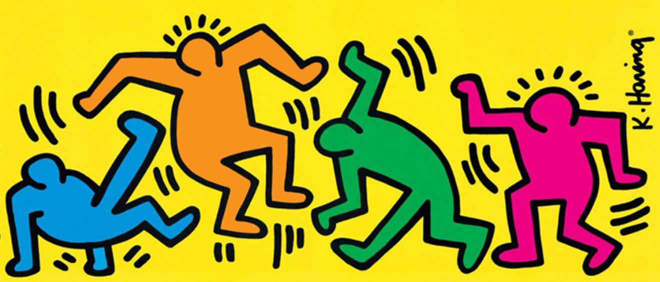 Pannello pop art decorativo con stampa pop art di Keith Haring,