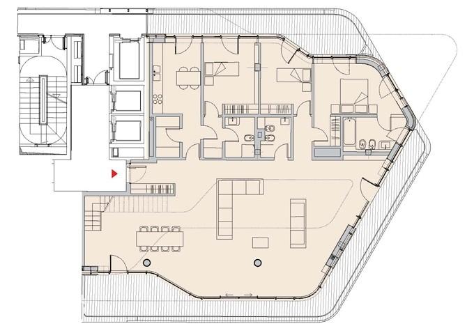 pianta tipo di un attico progettato dall'architetto haha hadid per milano city life