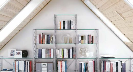 libreria componibile in acciaio per mansarda