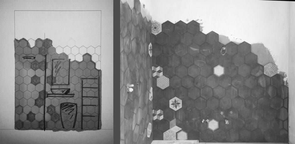Bagno bianco e nero progetto posa piastrelle