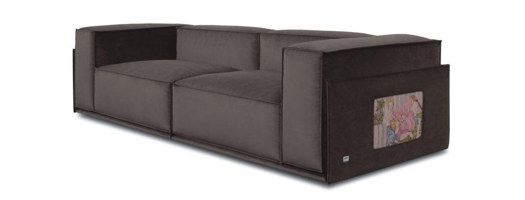 Opera d'arte dello Studio Cannaviello inserita in un divano Doimo