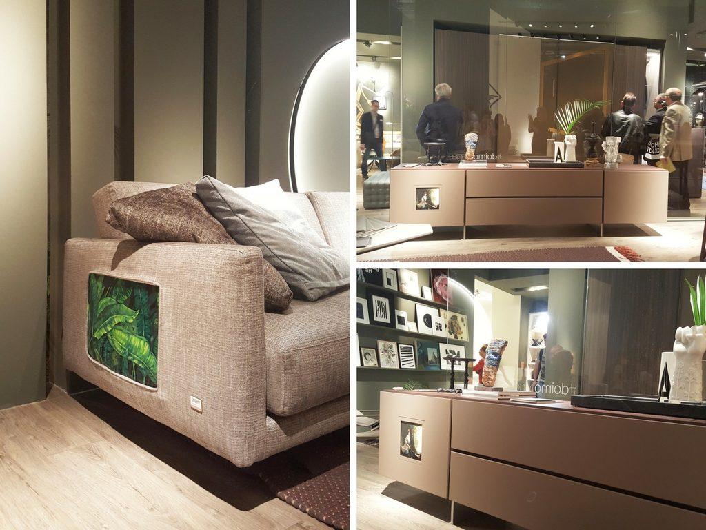 Un'opera d'arte dello Studio Cannaviello inserita in un divano Doimo