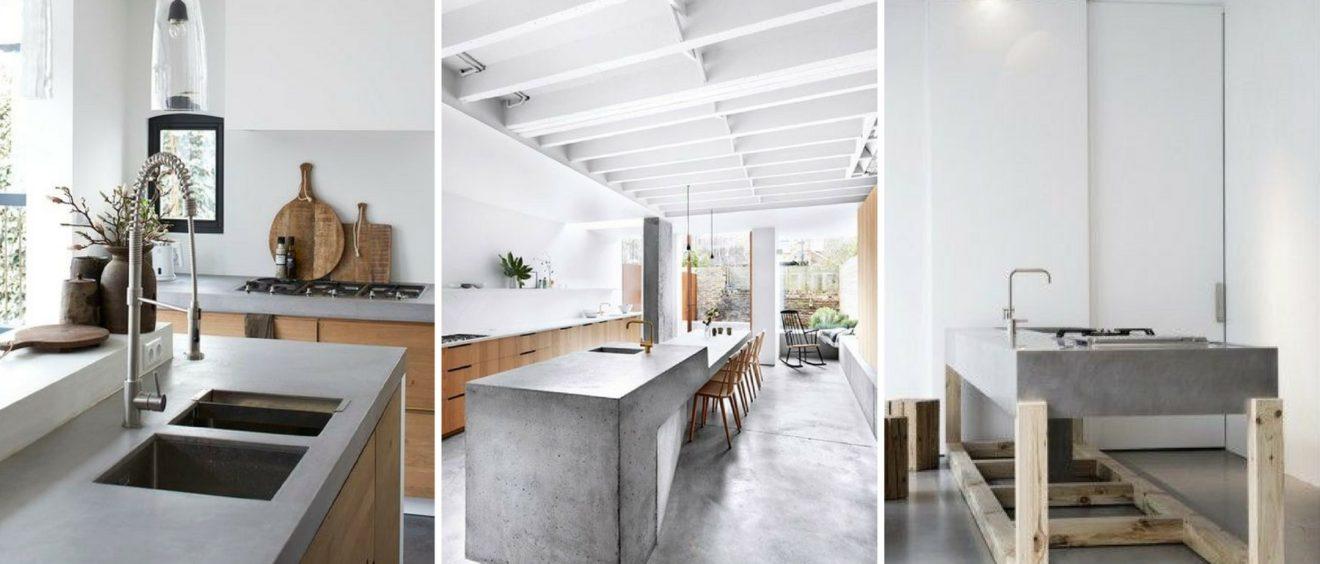 cucina con top in cemento