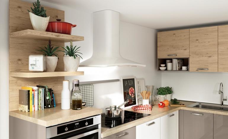 Cucine componbili economiche Conforama, colore bianco e legno
