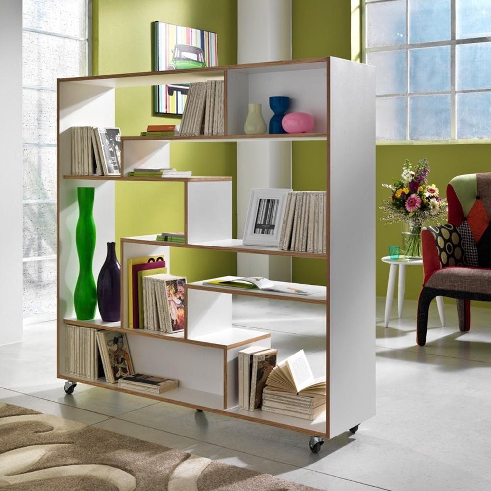 Libreria Moving su ruote in legno laccato bianco