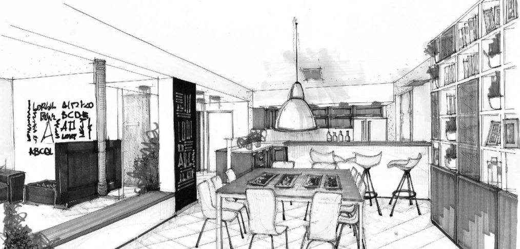 cucina e soggiorno open space