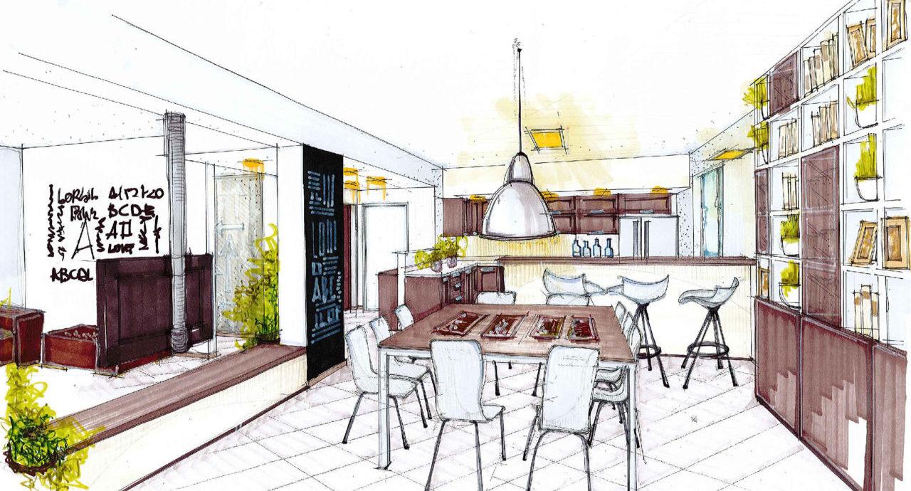 cucina e soggiorno open space: prospettiva ambiente